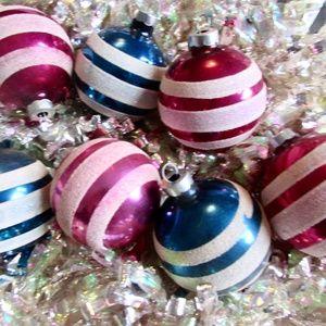 Vintage Shiny Brite Stencil Mica Striped Balls